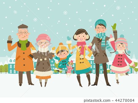 겨울 가족 - 적설 44278084
