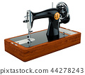 Old sewing machine side view, 3D rendering 44278243