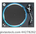 Phonograph Turntable, top view. 3D rendering 44278262