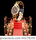 Podium with golden wrist watch. 3D rendering 44278265