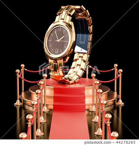 Podium with golden wrist watch. 3D rendering 44278265