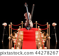 Podium with violin and bow, 3D rendering 44278267