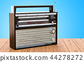 Radio receiver on the wooden desk, 3D rendering 44278272