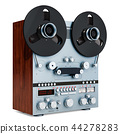 Retro reel-to-reel tape recorder closeup 44278283