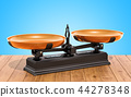 Retro Roberval balance, scales on table 44278348