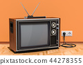 Retro TV set in room on the wooden floor 44278355