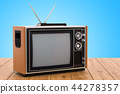 Retro TV set on the wooden table. 3D rendering 44278357