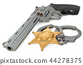 Sheriff star badge, revolver and handcuffs 44278375