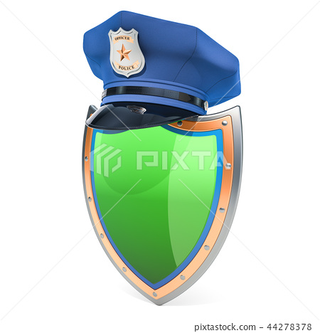 Shield with police cap, security and protect 44278378