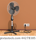 Standing pedestal electric fan in interior 44278385