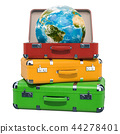Travel concept, Earth Globe inside suitcase 44278401