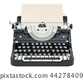 Typewriter with paper, front view. 3D rendering 44278409