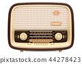 Vintage radio receiver front view, 3D rendering 44278423