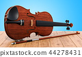 Violin and bow on the wooden table, 3D rendering 44278431