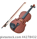 Violin and bow, 3D rendering 44278432