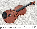 Violin on the musical notes, 3D rendering 44278434