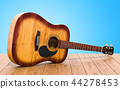 Wooden guitar on the wooden table. 3D rendering 44278453