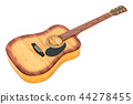 Wooden guitar, 3D rendering 44278455