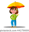 Cheerful Child With Yellow Umbrella In The Rain Vector. Isolated Illustration 44279009