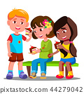 Children Are Sitting And Eating Cakes Vector. Isolated Illustration 44279042