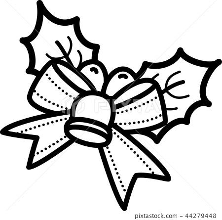 크리스마스 히 이라기 벨 리본 방울 흑백 선화 색칠 스톡