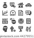 debt icon set 44279551