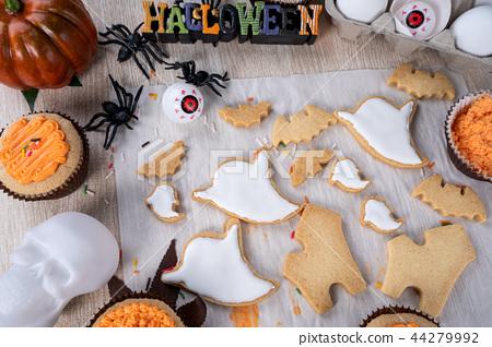 万圣节 饼干 幽灵 44279992