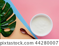 Yogurt with wooden spoon and green palm leaf 44280007