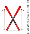 mountain ski and stick vector illustration 44280330