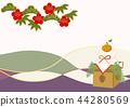 new year's card, japanese pattern, vector 44280569