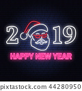 Happy New Year 2019 neon sign with santa claus. Vector illustration. 44280950