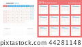 Vector of 2019 calendar simple planner design. 44281148