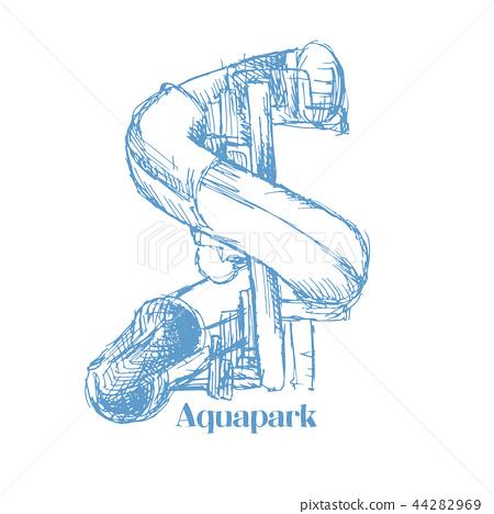 Screw Slides or Aqua tube, Play in Aquapark Sketched Equipment for Logo. 44282969