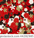 Japanese classic Sakura floral in red, white, black and light beige colors with golden stroke 44282985