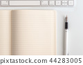 white table notepad, keyboard and fountain pen 44283005