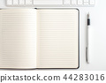 white table notepad, keyboard and fountain pen 44283016