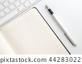white table notepad, keyboard and fountain pen 44283022