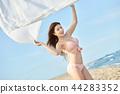 젊은여자, 해변, 수영복 44283352