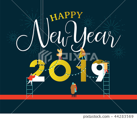 New Year 2019 card of people in celebration party 44283569
