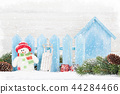 Christmas gift boxes, snowman toy and fir tree 44284466