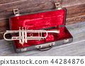 Trumpet in red velvet case. 44284876