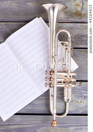 Trumpet on musical notes. 44284915