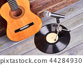 Guitar, vinyl record and microphone. 44284930