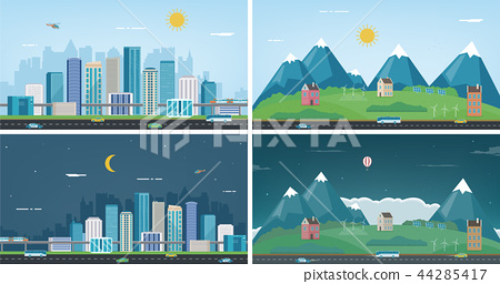 Modern city with suburban landscape. Building and architecture set. Modern city and suburb. Vector 44285417