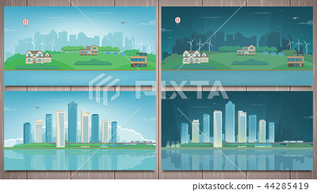 Modern city with suburban landscape. Building and architecture set. Modern city and suburb. Vector 44285419