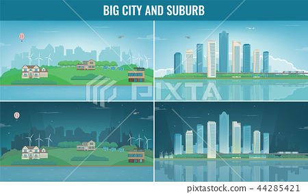 Modern city with suburban landscape. Building and architecture set. Modern city and suburb. Vector 44285421