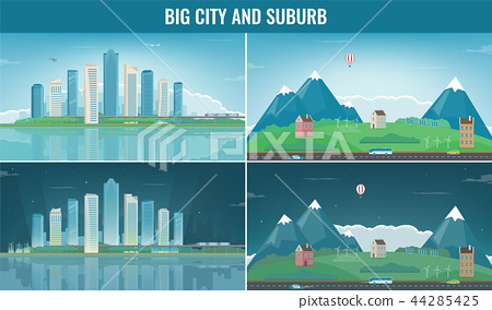 Modern city with suburban landscape. Building and architecture set. Modern city and suburb. Vector 44285425