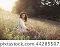 Free Happy Woman Enjoying Nature. Beauty Girl Outdoor. Freedom concept. 44285507