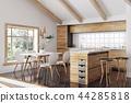 Modern wooden kitchen interior 3d rendering 44285818
