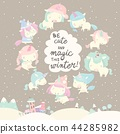 Collection of funny unicorn on gray winter background 44285982